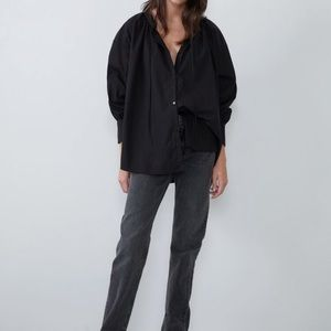 NWT Zara Boho Black Ruffle Tie Sleeved Summer Top